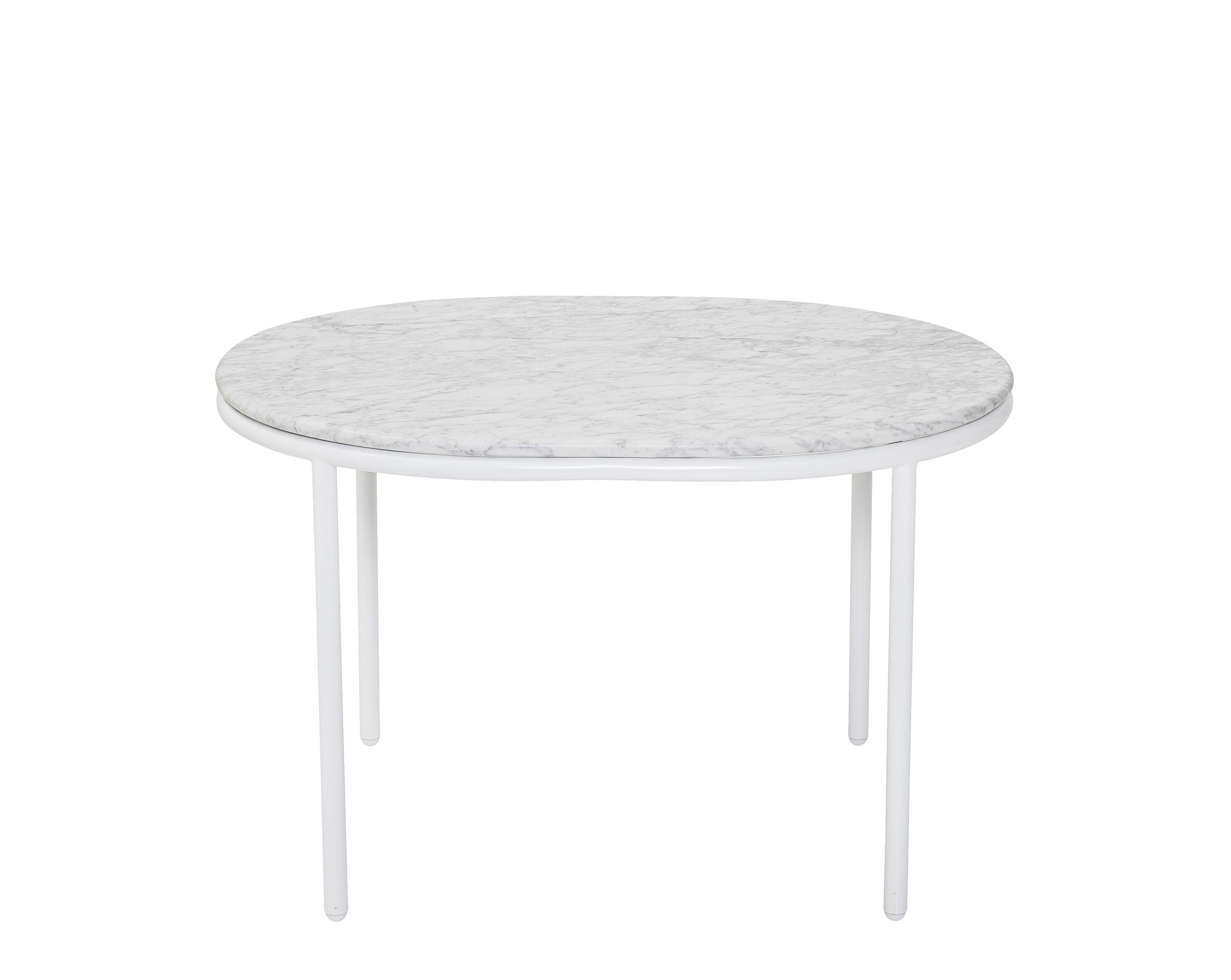 Furniture - Coffee Tables - Coffee table - / Marble - 70 x 55 cm by Bloomingville - White marble / White base - Lacquered iron, Marble