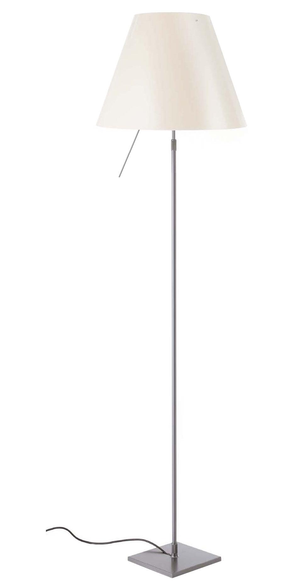 Luminaire - Lampadaires - Lampadaire Costanza / H 120 à 160 cm - Luceplan - Blanc / Pied aluminium - Aluminium peint, Polycarbonate