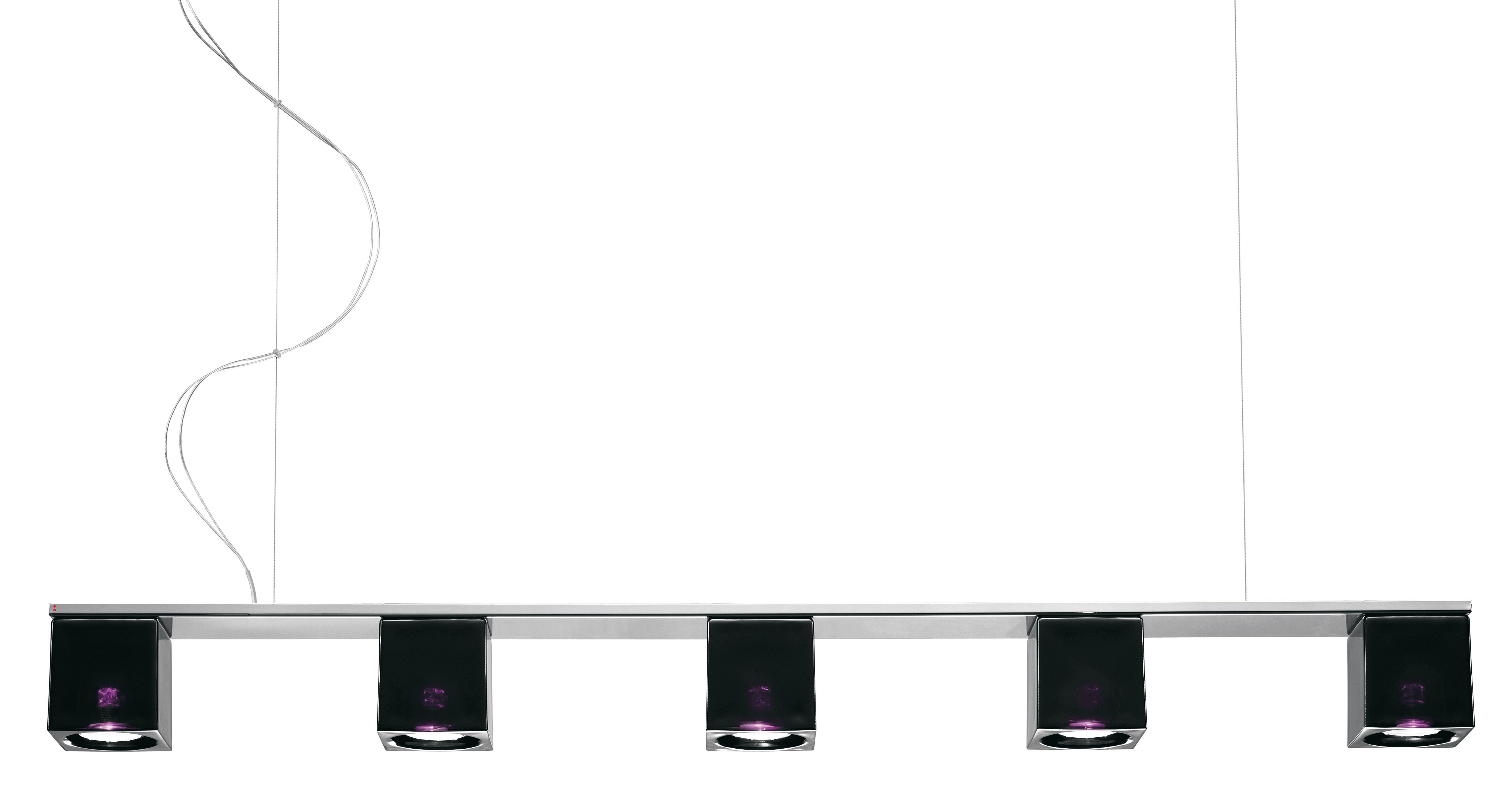 Lighting - Pendant Lighting - Cubetto - Black Glass Pendant - 5 elements by Fabbian - Black - Chromed metal, Glass