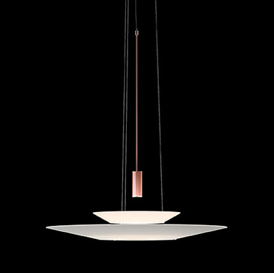Lighting - Pendant Lighting - Flamingo Pendant - LED / Ø 70 cm by Vibia - Copper diffuser / White shades - Acrylic, Metal, Methacrylate