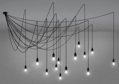 Lighting - Pendant Lighting - Maman Dimmable Pendant - 14 LED bulbs included / Dimmable by Seletti - Clear bulbs / Black wires - Metal, Plastic, Silicone
