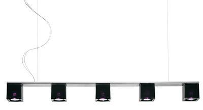 Leuchten - Pendelleuchten - Cubetto - Black Glass Pendelleuchte 5 Elemente - Fabbian - Schwarz / violett - Glas, verchromtes Metall