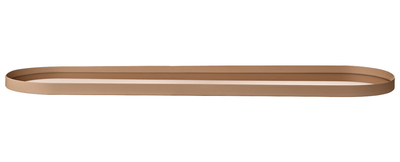 Tavola - Vassoi  - Vassoio Margo / Fondo specchio - 46 x 12 cm - AYTM - Dorato / Fondo specchio rosa - Ferro dipinto, Vetro