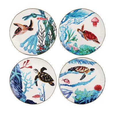 Tableware - Plates - Océan Plate - / Set of 4 - Porcelain by & klevering - Ocean / Multicoloured - Porcelaine fine