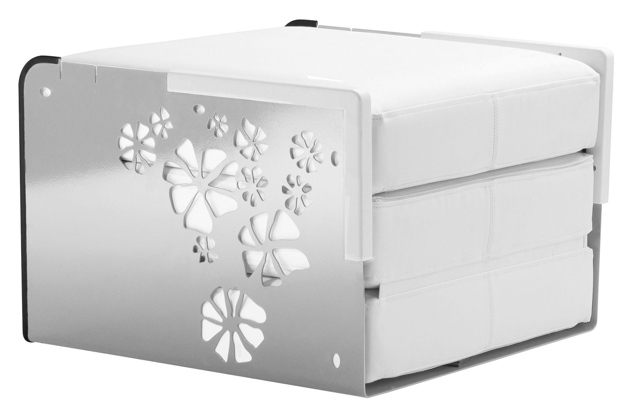 Arredamento - Pouf - Poltroncina convertibile Kube - Può diventare una poltroncina, una sdraio o un tavolino di EGO Paris - Struttura argento con angoli bianchi / Cuscini bianchi - Alluminio laccato, Corian, Vinile