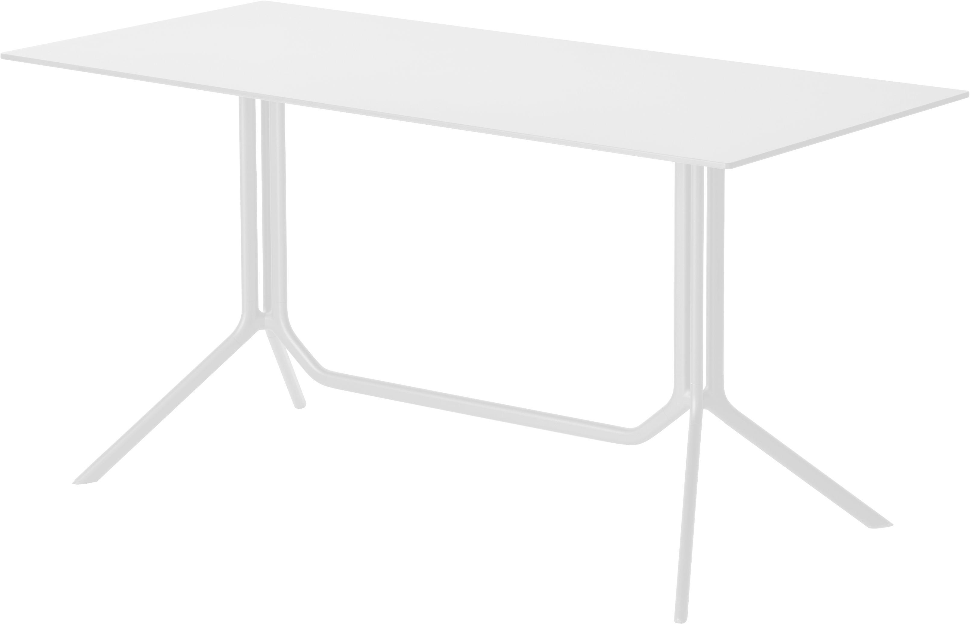 Outdoor - Tische - Poule double rechteckiger Tisch 150 x 70 cm - feste Tischplatte - Kristalia - Laminat weiß (