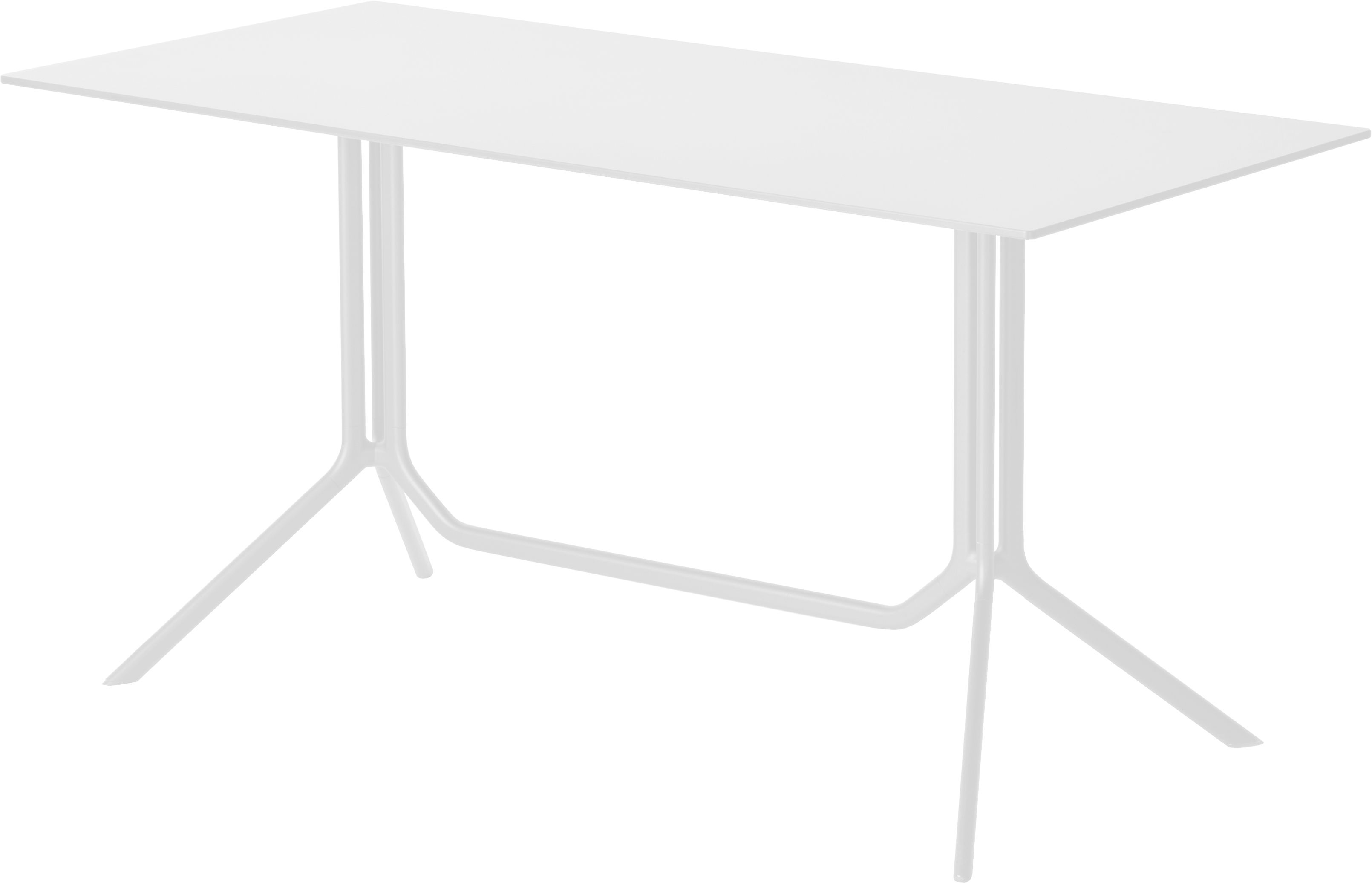 Outdoor - Garden Tables - Poule double Rectangular table - 150 x 70 cm - Fixed top by Kristalia - Pure white laminated - Lacquered aluminium, Stratified