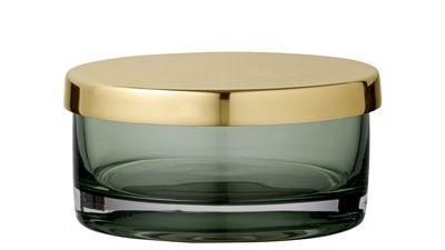 Image of Scatola Tota Small - / Cilindrica - Ø 9 x H 4,5 cm di AYTM - Verde/Oro - Metallo/Vetro