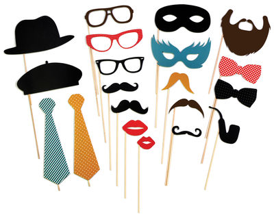 Accessoires - Pratique et malin - Set accessoires Photo Booth  Party / Lot 20 déguisements pour séance photo - Doiy - Thème Party / Multicolore - Bois, Papier