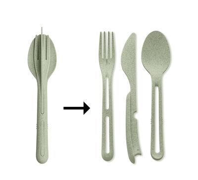 Set Klikk / 3 couverts clipsable - Plastique organique - Koziol vert organique en matière plastique