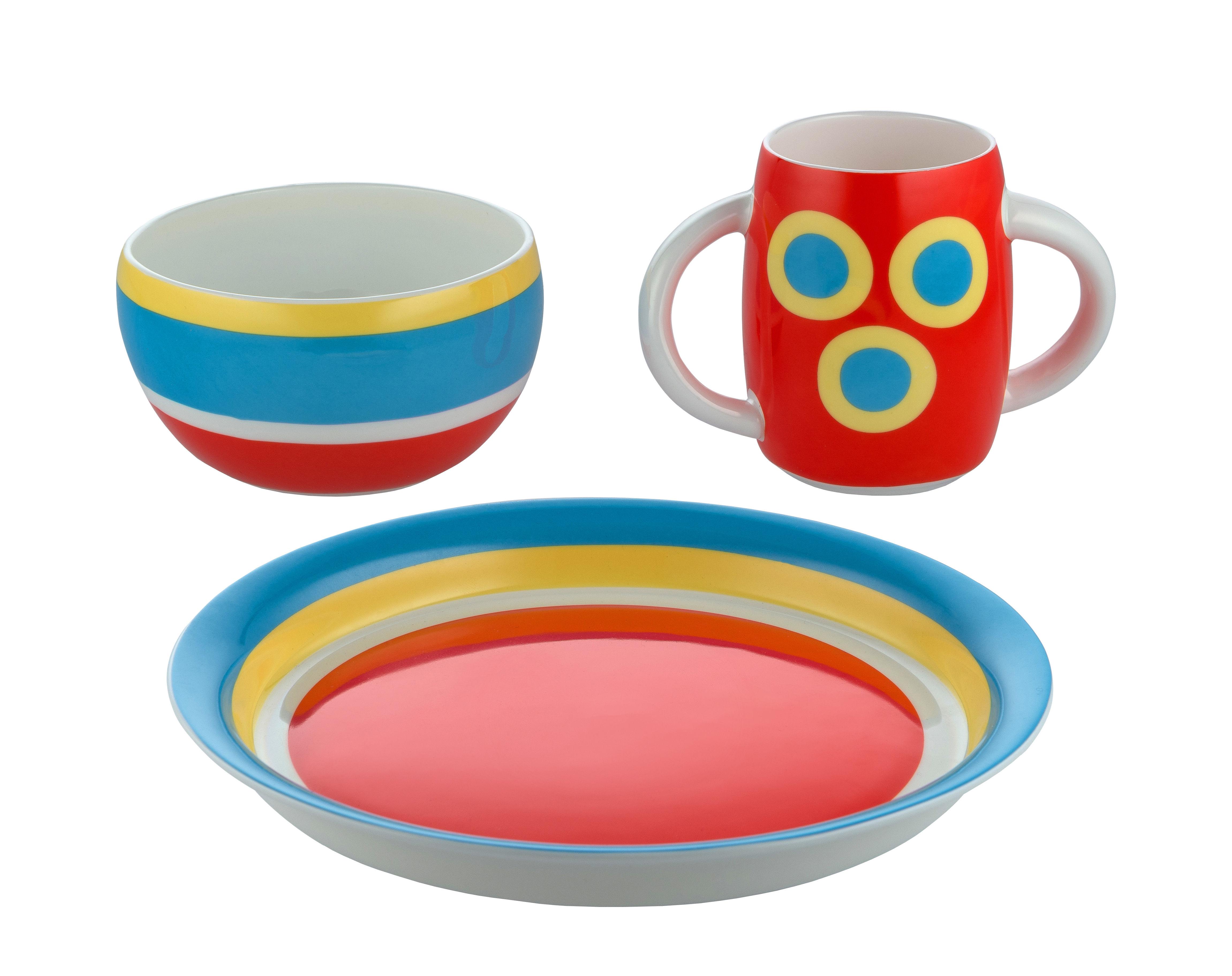 Déco - Pour les enfants - Set vaisselle enfant Con-centrici - Alessi - Con-centrici / Multicolore - Porcelaine