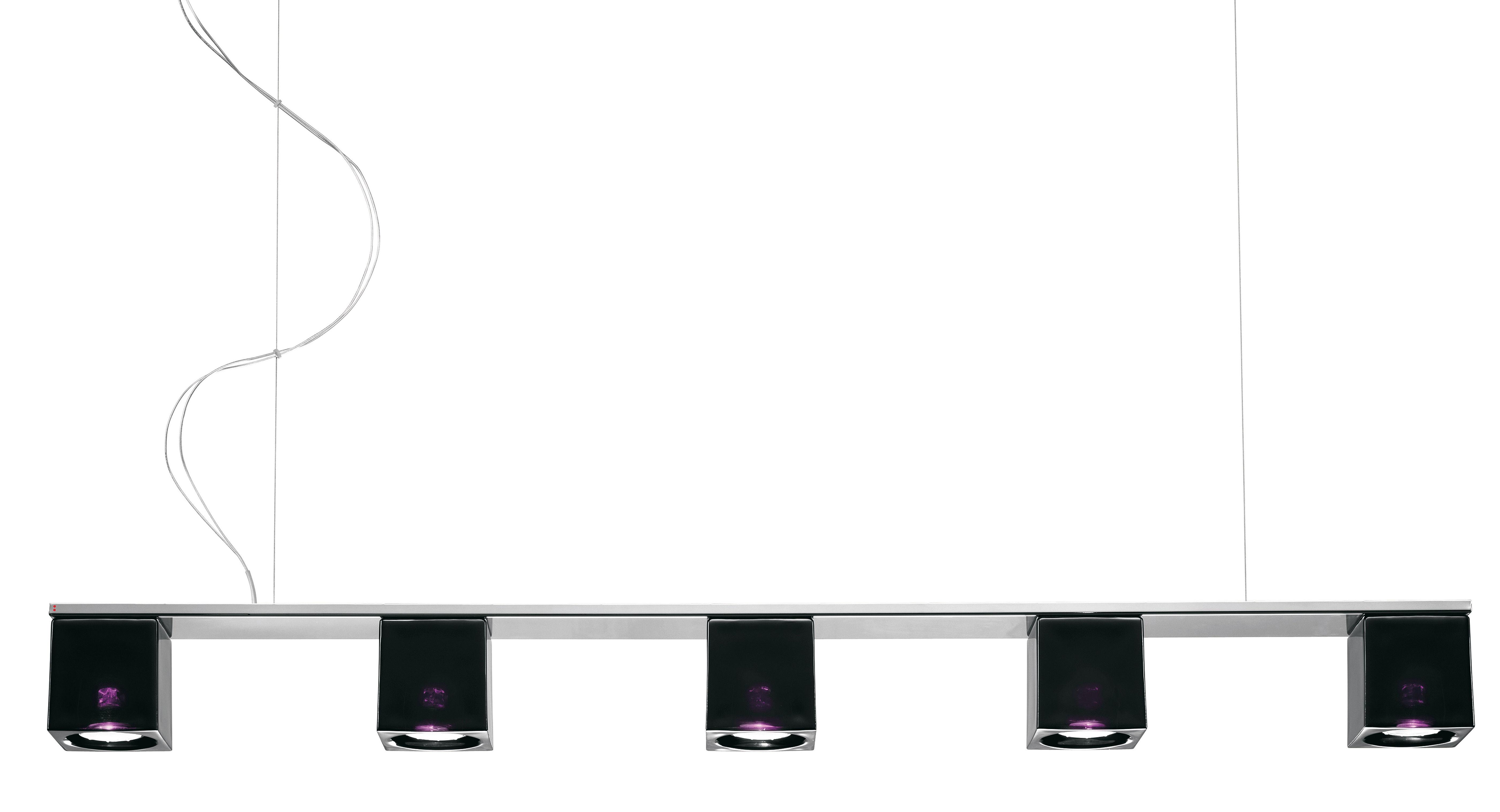 Illuminazione - Lampadari - Sospensione Cubetto - Black Glass - 5 elementi di Fabbian - Nero / viola - Metallo cromato, Vetro
