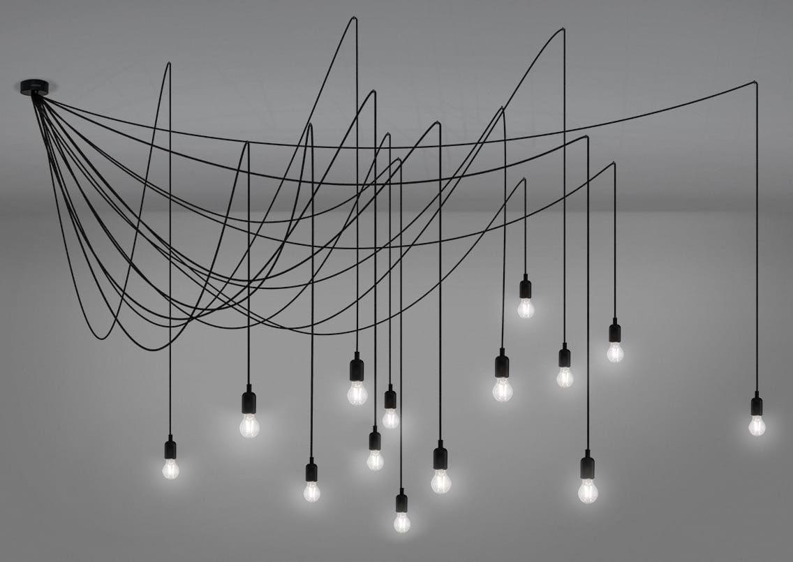Illuminazione - Lampadari - Sospensione Maman Dimmable / 14 lampadine LED incluse – Compatible con dimmer – Seletti - Lampadina transparente / Cavo nero - Metallo, Plastica, Silicone