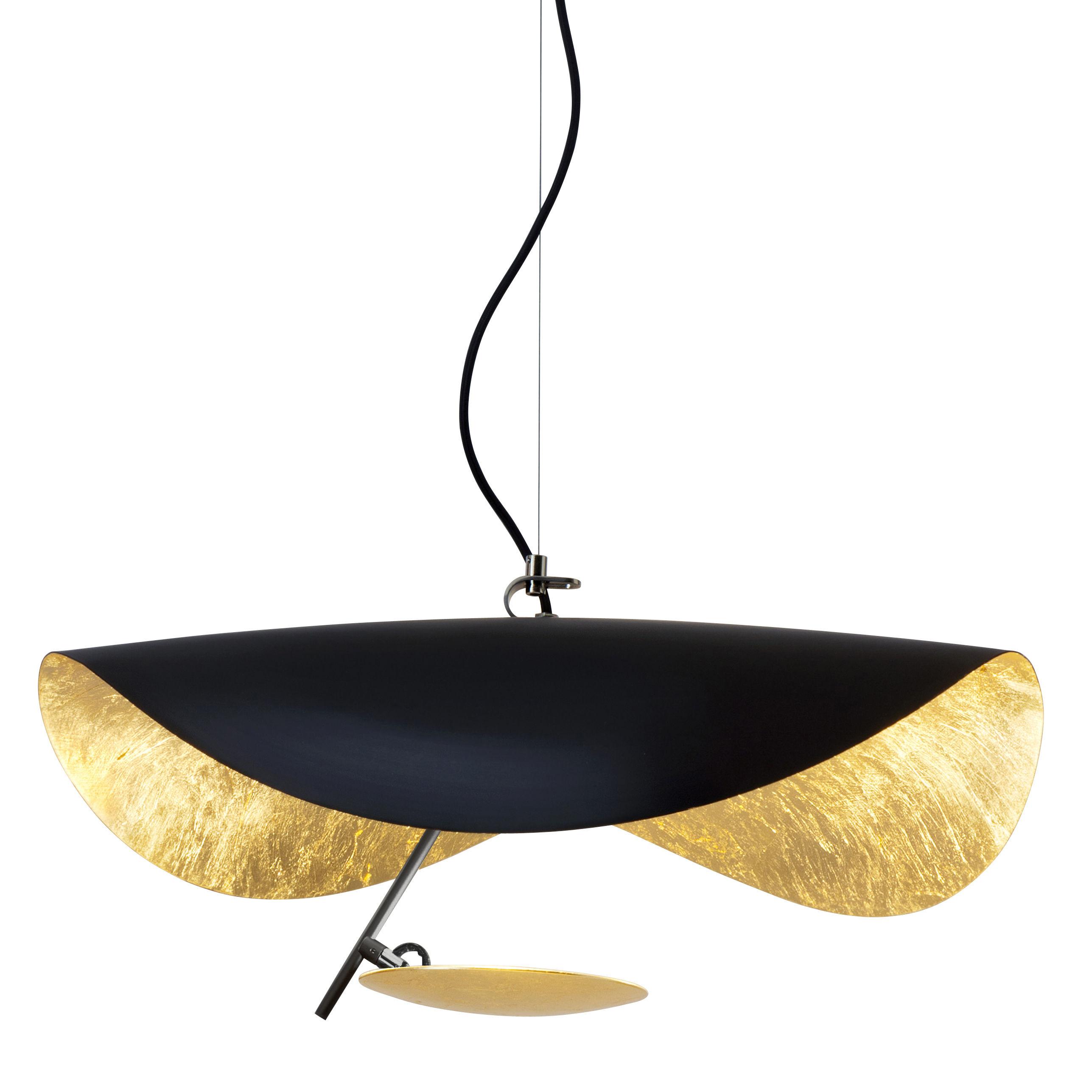 Luminaire - Suspensions - Suspension Lederam Manta S1 / LED - Ø 60 cm - Catellani & Smith - Or & noir - Aluminium, Feuille d'or