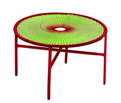 Mobilier - Tables basses - Table basse M'Afrique - Banjooli / Ø 50 x H 46 cm - Moroso - Vert / Rouge - Acier laqué, Polyéthylène tressé