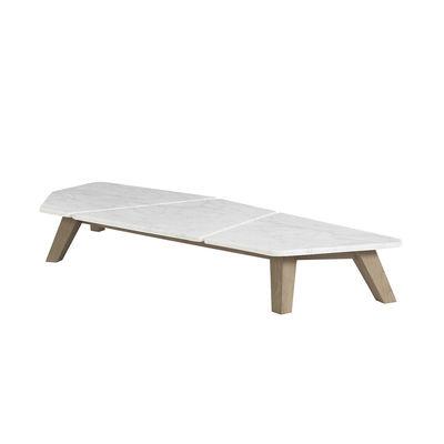Table basse Rafael Large / 170 x 70 cm - Marbre & teck décapé - Ethimo blanc en pierre