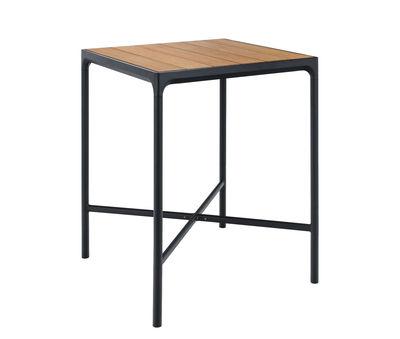 Mobilier - Mange-debout et bars - Table haute Four / L 90 x H 111 cm - Houe - Bambou / Piètement noir - Aluminium, Bambou