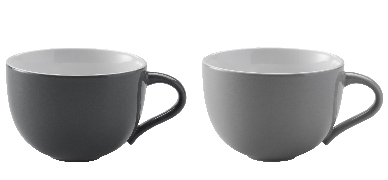 Tischkultur - Tassen und Becher - Emma Tasse / 2er-Set - 350 ml - Stelton - Hellgrau & dunkelgrau - emaillierte Keramik