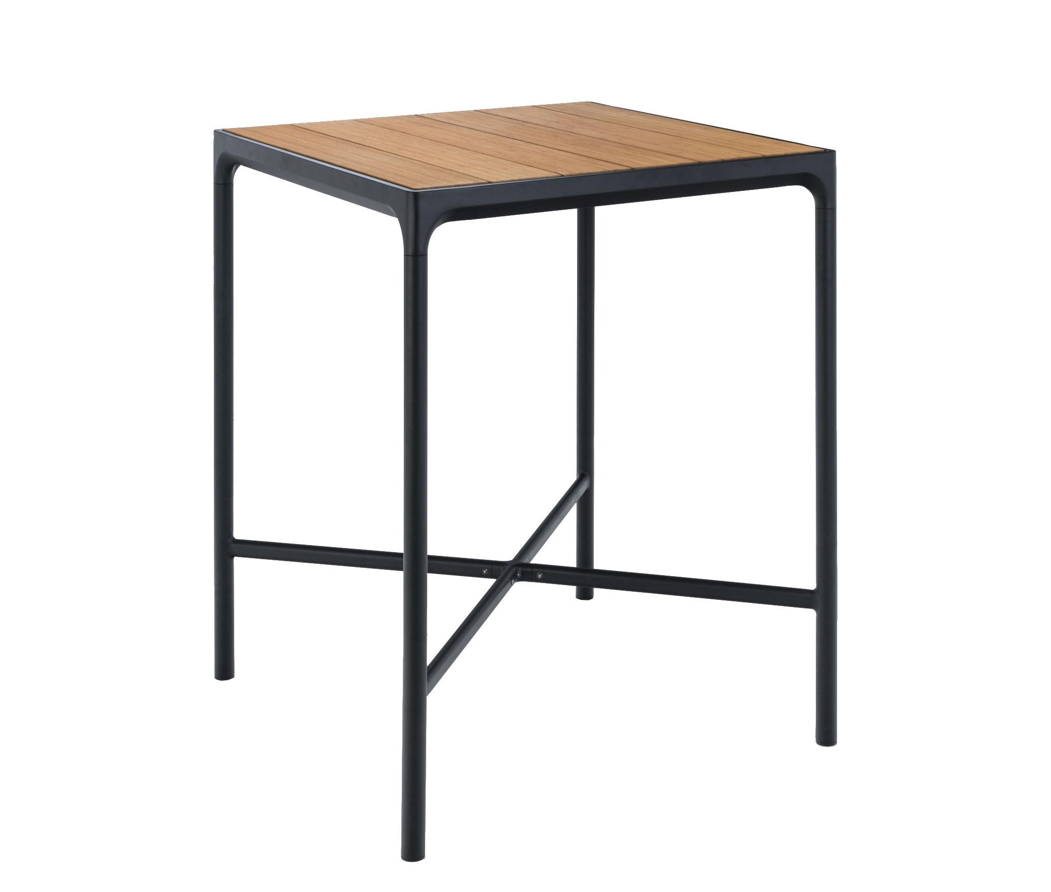 Arredamento - Tavoli alti - Tavolo alto Four - / L 90 x H 111 cm di Houe - Bambù / Base nera - Alluminio, Bambù