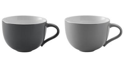 Tavola - Tazze e Boccali - Tazza Emma / Set da 2 - 350 ml - Stelton - Grigio chiaro & Grigio chiaro - Ceramica smaltata