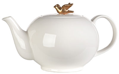 Tableware - Tea & Coffee Accessories - Freedom Bird Teapot by Pols Potten - Black / Gold bird - Varnished china