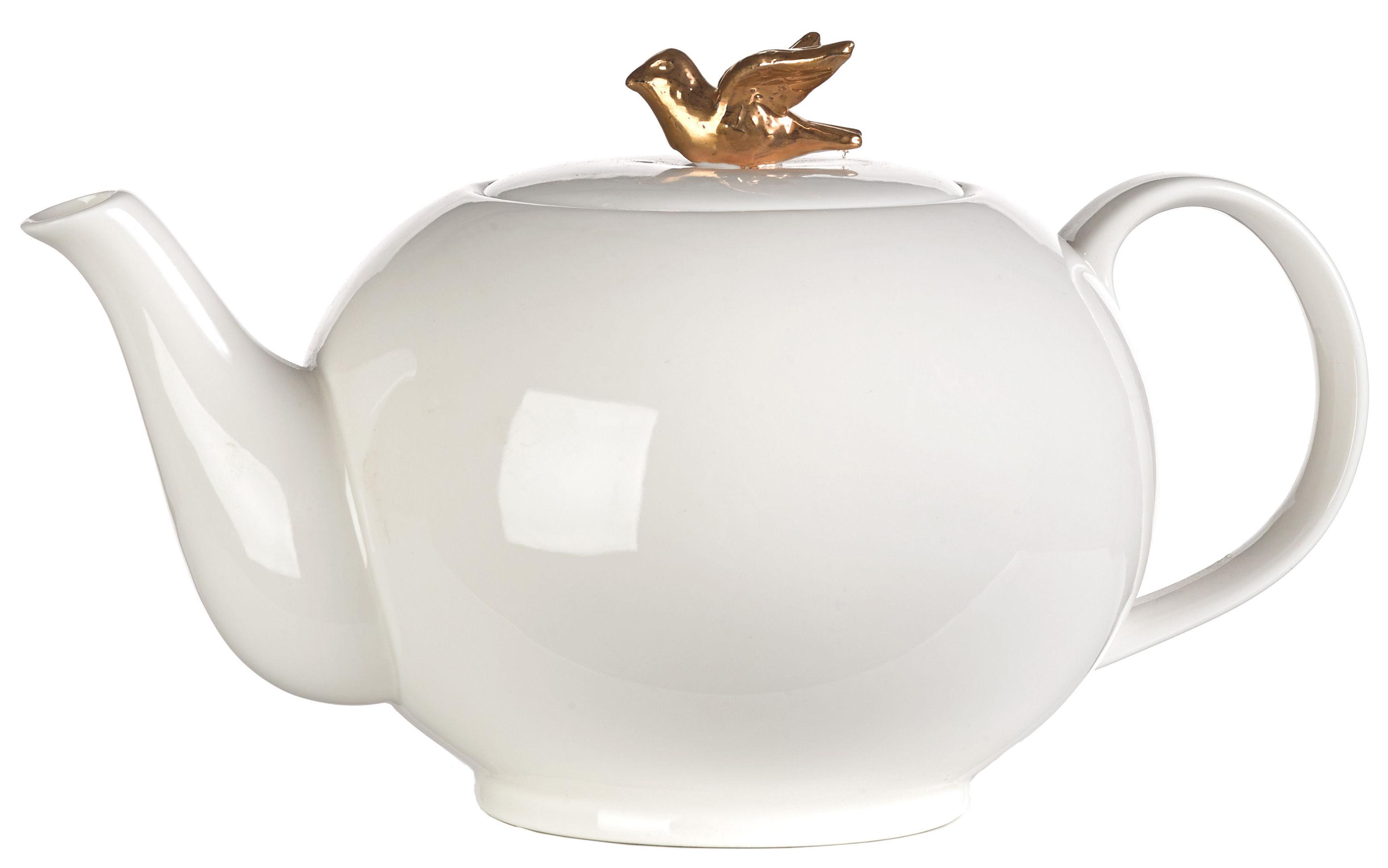 Tischkultur - Tee und Kaffee - Freedom Bird Teekanne - Pols Potten - Teekanne weiß / Vogel goldfarben - Porcelaine vernie