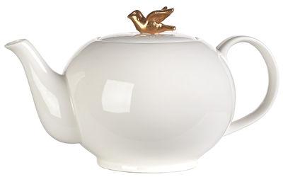 Tavola - Caffè - Teiera Freedom Bird di Pols Potten - Gabbia nera / Uccellino dorato - Porcellana verniciata