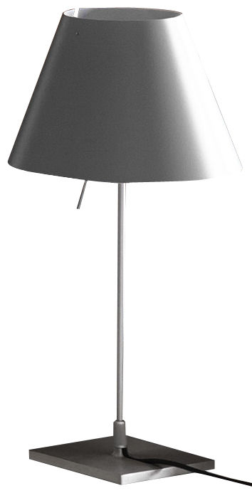 Leuchten - Tischleuchten - Costanzina Tischleuchte / H 51 cm - Luceplan - Betongrau / Fuß Metall - Aluminium, Polykarbonat