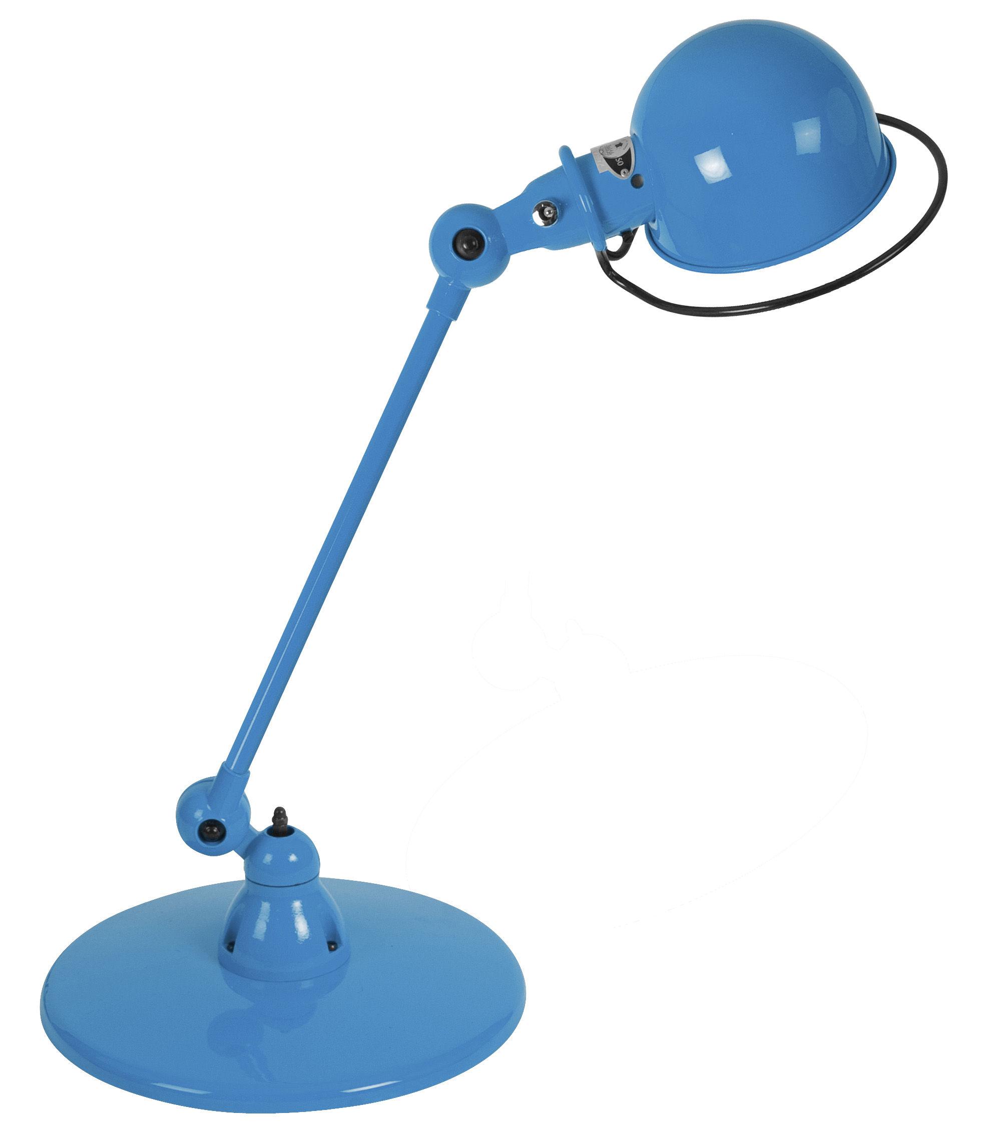 Leuchten - Tischleuchten - Loft Tischleuchte / mit Gelenkarm - L 60 cm - Jieldé - Blau-glänzend - rostfreier Stahl