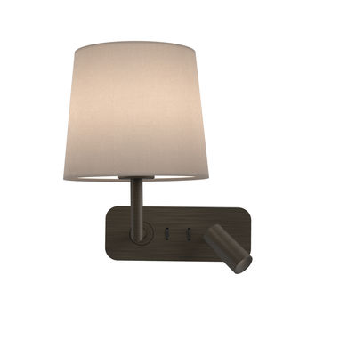 Lighting - Wall Lights - Side by Side LED Wall light - / Adjustable reading light - Double lighting / Switches by Astro Lighting - Bronze / White lampshade - Fabric, Zinc