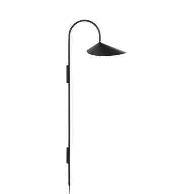 Lighting - Wall Lights - Arum Tall Wall light with plug - / H 127 cm - Metal - Adjustable by Ferm Living - Black - Epoxy lacquered steel