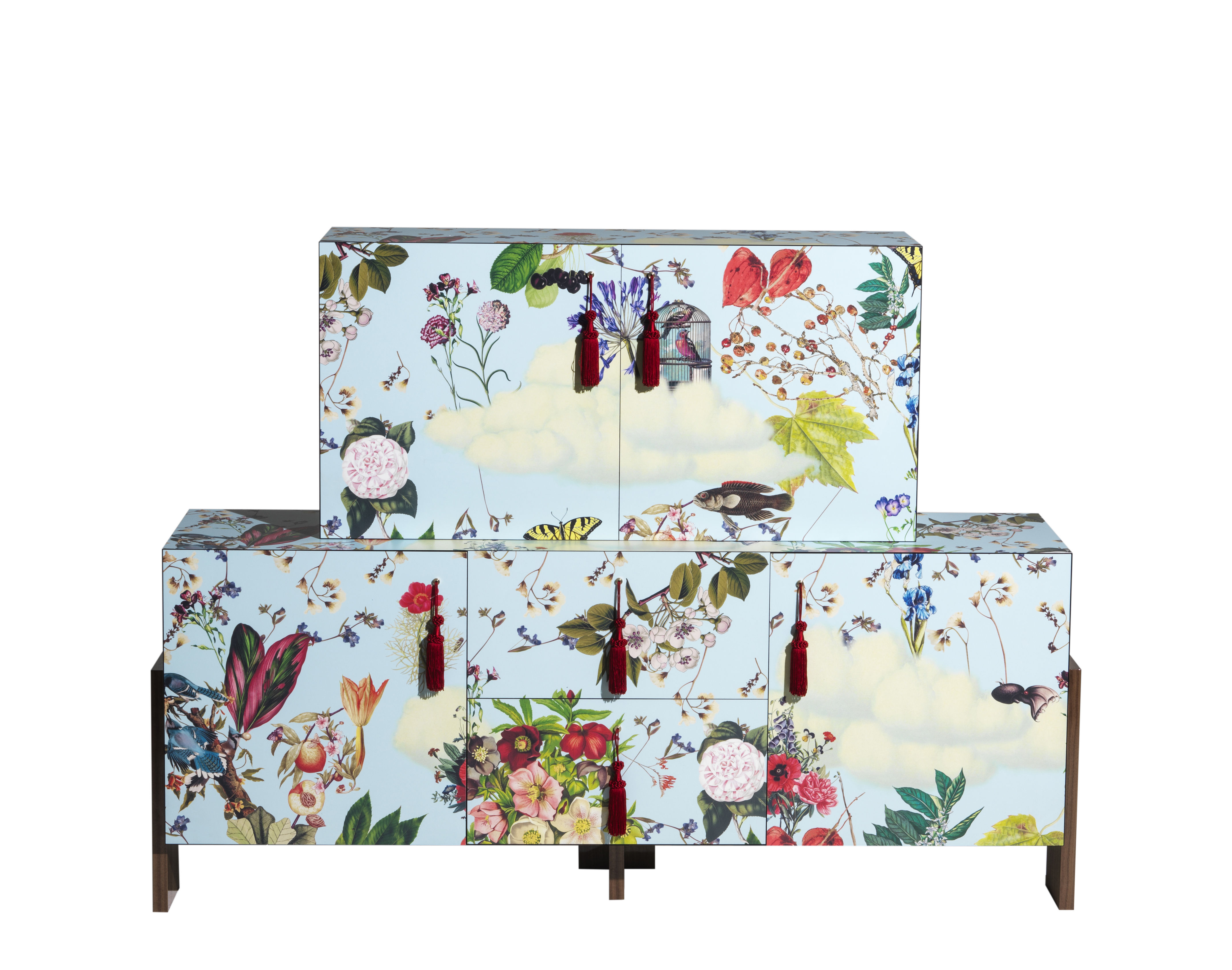 Möbel - Kommode und Anrichte - Ziqqurat Anrichte / L 186 cm x H 155 cm - Driade - Blumenmotive auf blauem Grund - HPL, MDF plaqué noyer