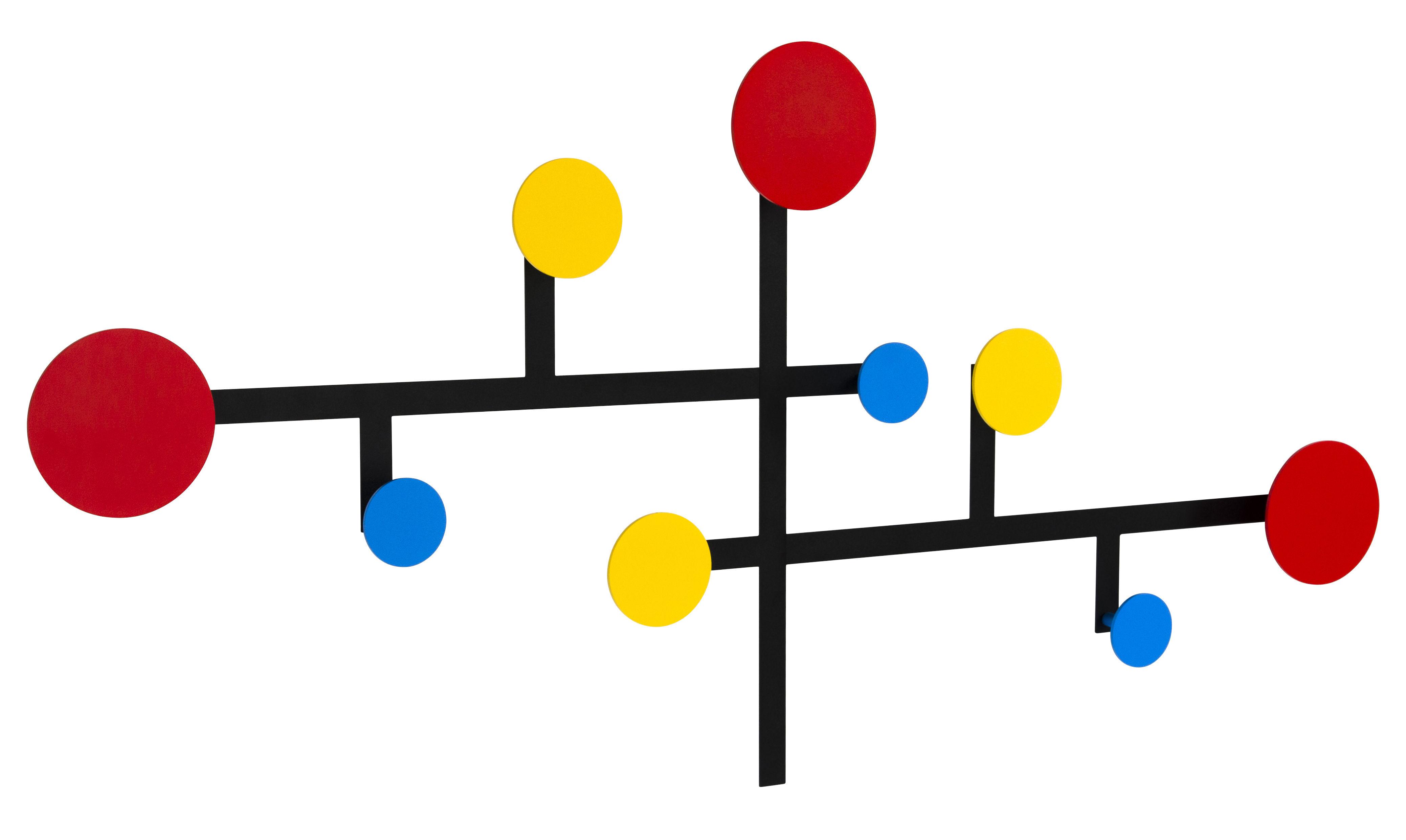 Arredamento - Appendiabiti  - Appendiabiti Piet - / Metallo - 9 ganci / Modulabile di Presse citron - Rosso, Giallo, Blu / Struttura nera - Acciaio laccato