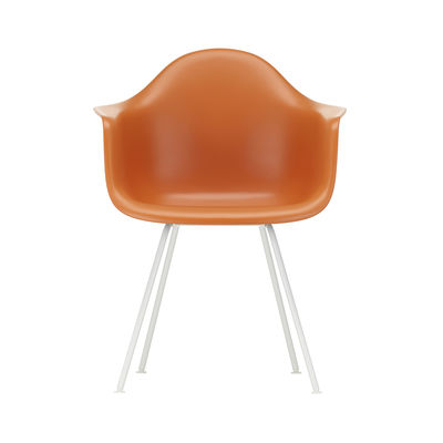 Furniture - Chairs - DAX - Eames Plastic Armchair Armchair - / (1950) - White legs by Vitra - Rust orange / White legs - Epoxy lacquered steel, Polypropylene