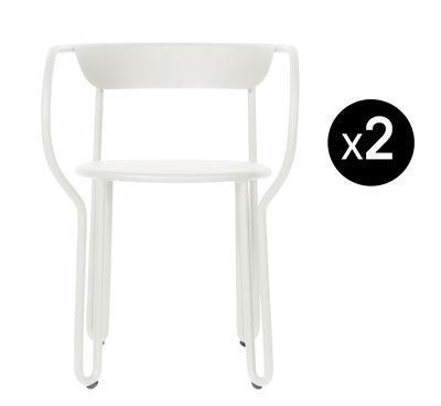 Furniture - Chairs - Huggy Armchair - / Set of 2 - Aluminium by Maiori - White - Painted aluminium