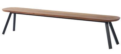 Banc Y&M / Bois & métal - L 220 cm - RS BARCELONA noir,bois naturel en métal