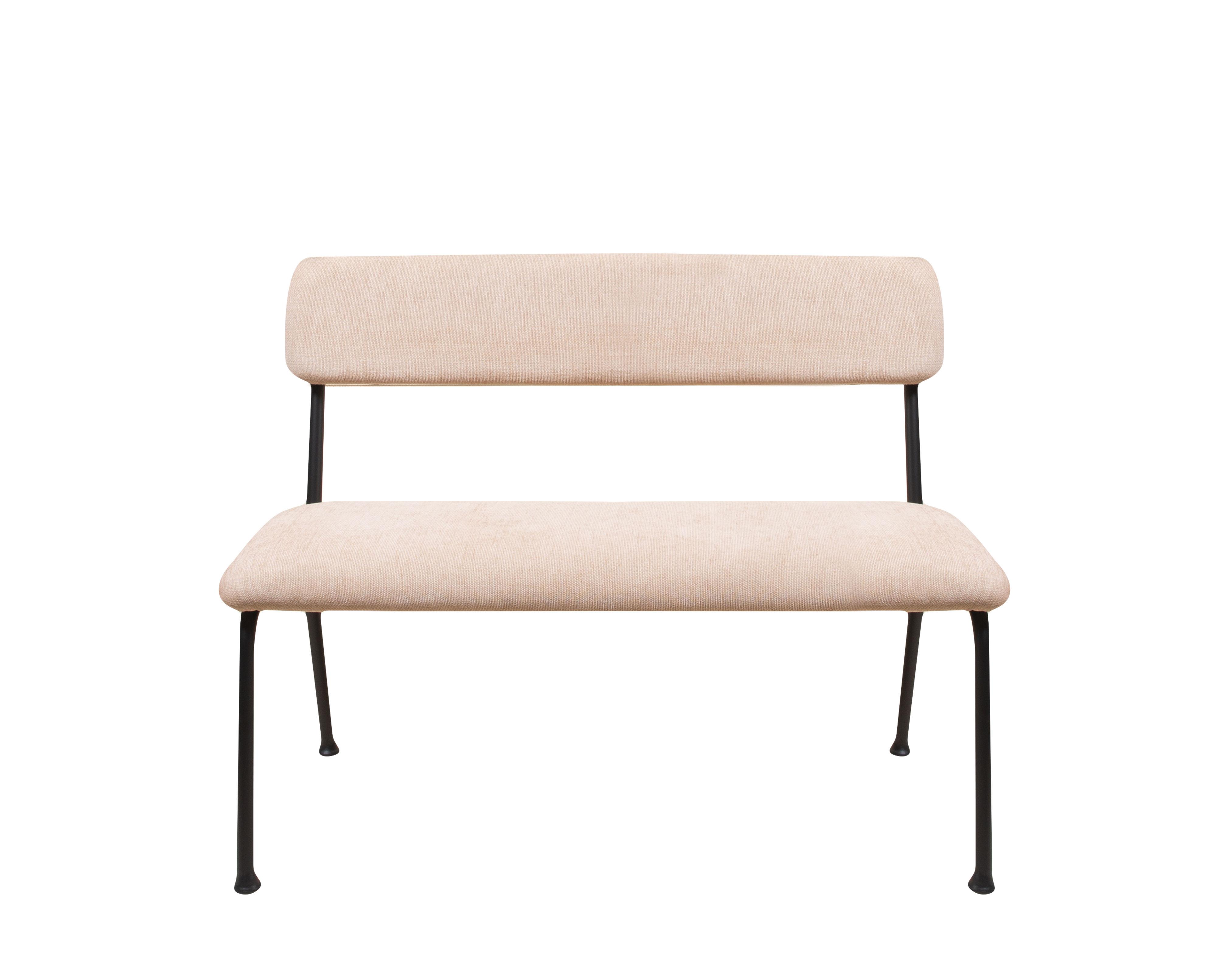Möbel - Bänke - Le Tube Small Bank mit Rückenlehne / Stoff - L 110 cm - Maison Sarah Lavoine - Rosa - Gewebe, Schaumstoff, thermolackierter Stahl