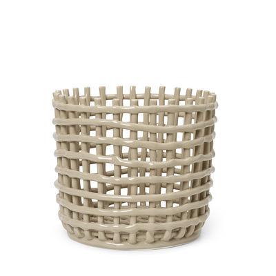Tableware - Fruit Bowls & Centrepieces - Ceramic Large Basket - / Ø 23.5 x H 21 cm - Hand-made by Ferm Living - Cashmere beige - Glazed ceramic