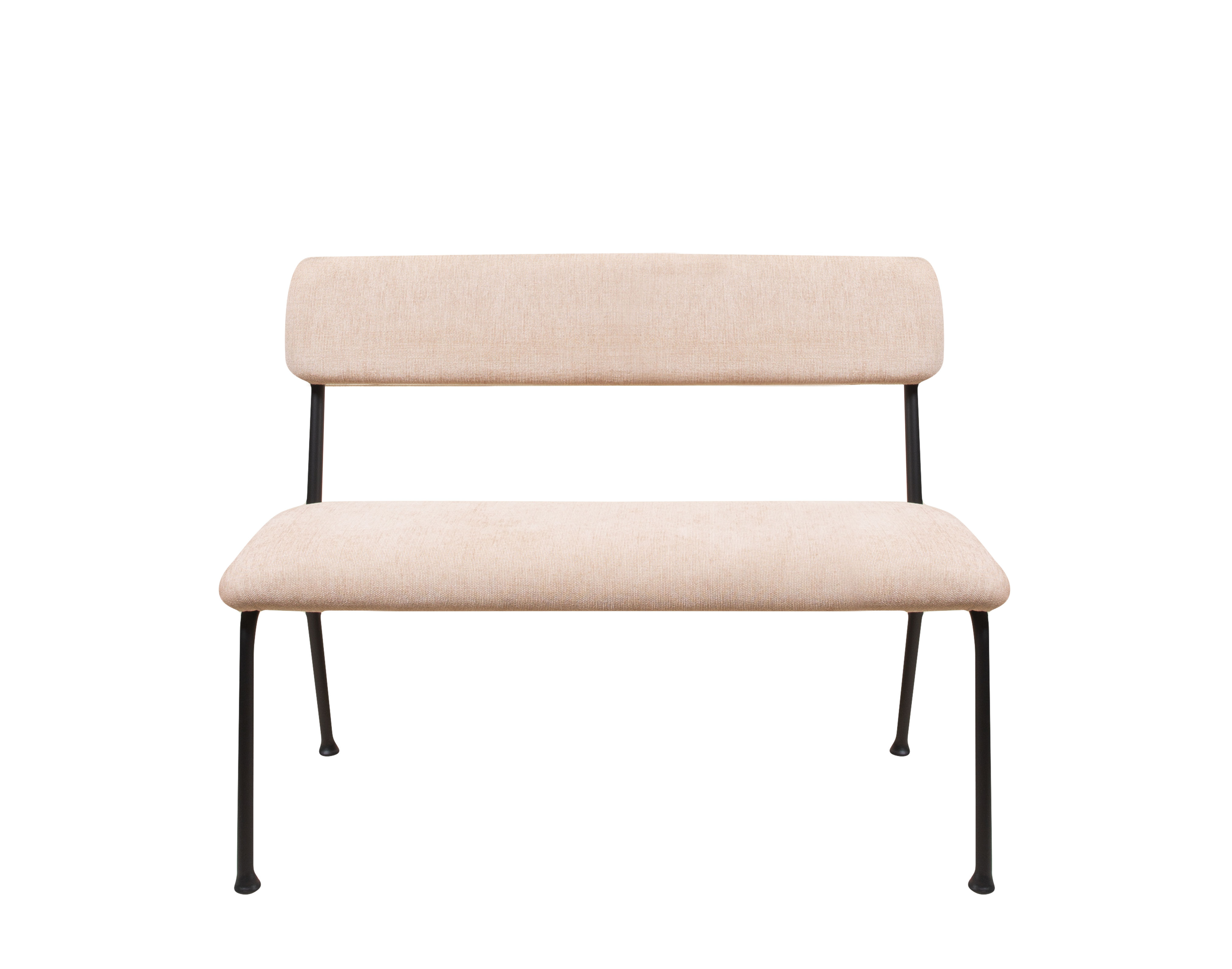 Furniture - Benches - Le Tube Small Bench with backrest - / Fabric - L 110 cm by Maison Sarah Lavoine - Pink - Fabric, Foam, Powder coated steel