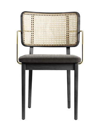 Furniture - Chairs - Cannage Bridge armchair - / Fabric by RED Edition - Caviar beige / Natural & brass - Brass, Cotton, Foam, Rattan, Tinted oak wood