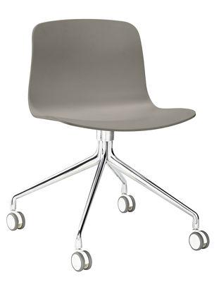 Mobilier - Fauteuils de bureau - Chaise à roulettes About a chair AAC14 / Pivotante - Hay - Gris / Piètement aluminium - Fonte d'aluminium, Polypropylène