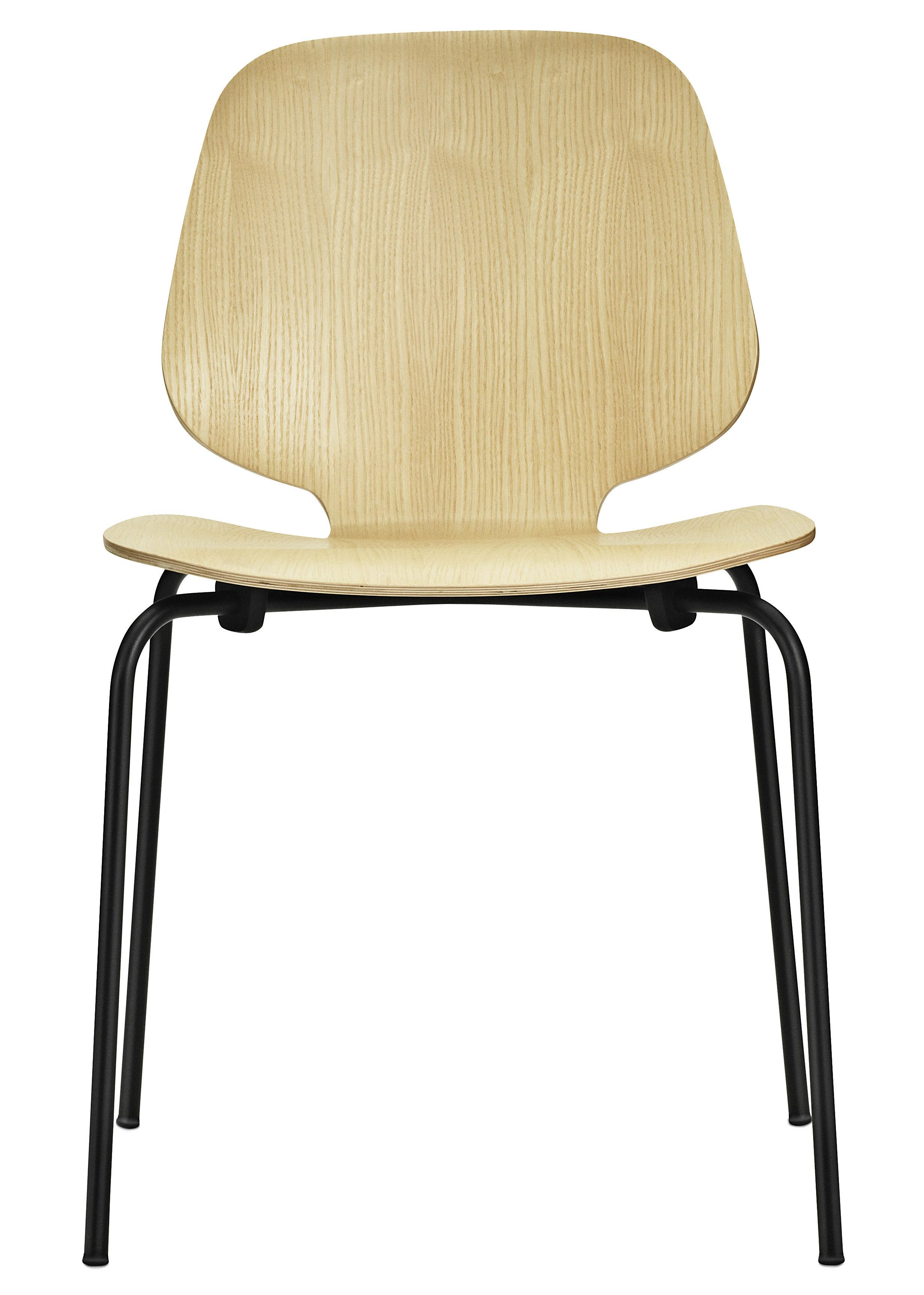 Mobilier - Chaises, fauteuils de salle à manger - Chaise empilable My Chair / Assise bois - Normann Copenhagen - Frêne / Pieds noirs - Acier laqué, Placage de frêne