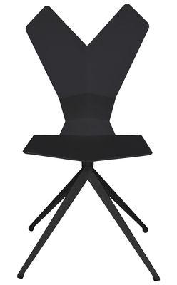 Chaise Y Assise Plastique Pieds Metal Coque Noire