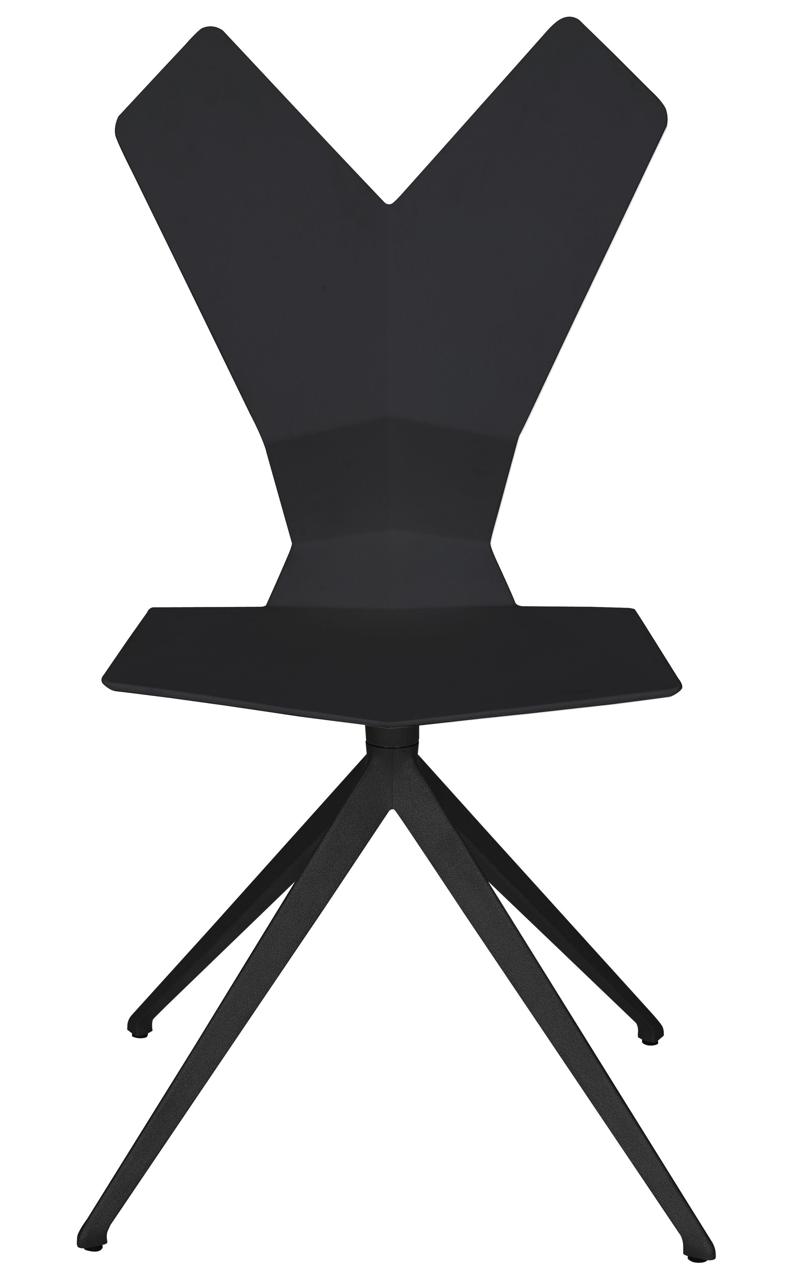 Mobilier - Chaises, fauteuils de salle à manger - Chaise Y / Assise plastique & pieds métal - Tom Dixon - Coque noire - piètement noir - Aluminium verni