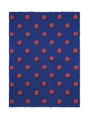 Furniture - Kids Furniture - Pois - Effet 3D Children blanket - / 120 x 160 cm by Ferm Living - Bleu / Pois rouges - Cotton