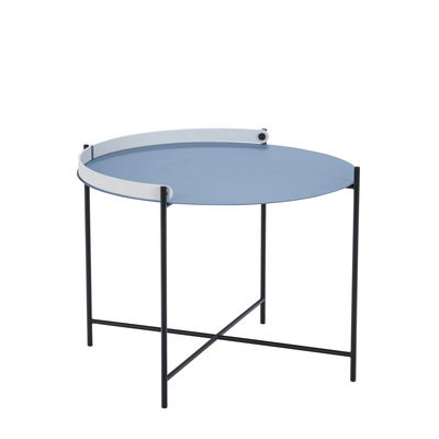 Furniture - Coffee Tables - Edge Coffee table - / Folding handle - Ø 62 x H 46 cm by Houe - Blue, white & black - Thermolacquered metal