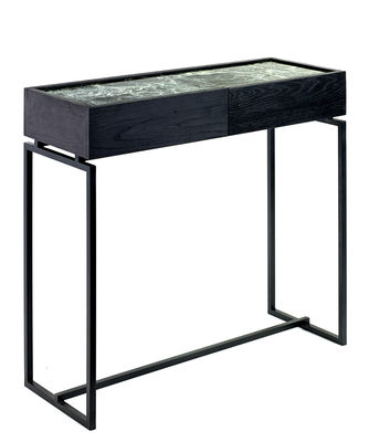 Mobilier - Consoles - Console Verde / 1 tiroir - Marbre - L 80 cm - Serax - Marbre vert / Pied noir - Bois peint, Marbre, Métal