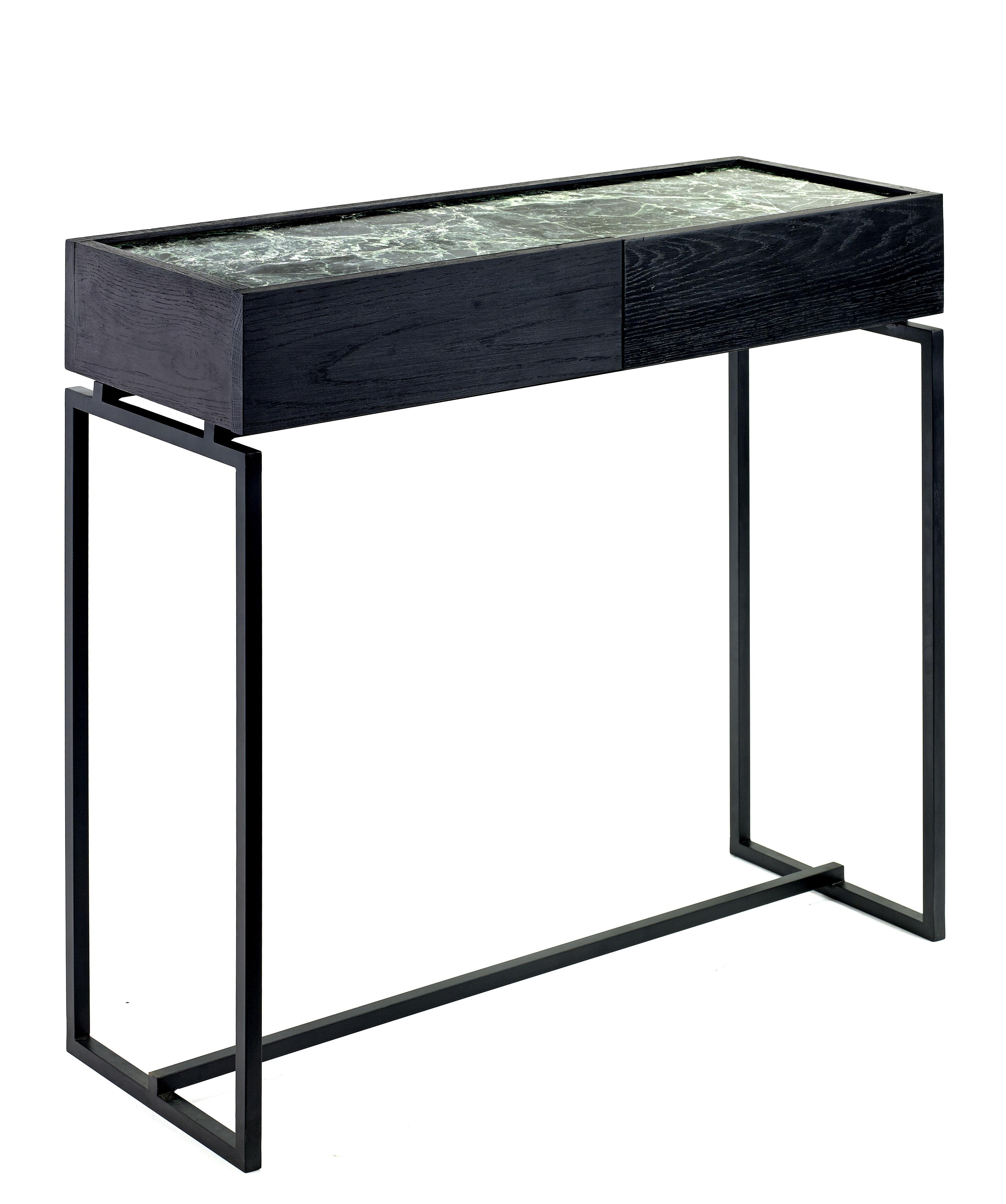 Arredamento - Console - Console: Verde - / 1 Cassetto - Marmo - L 80 cm di Serax - Marmo verde / Gamba nera - Legno tinto, Marmo, Metallo