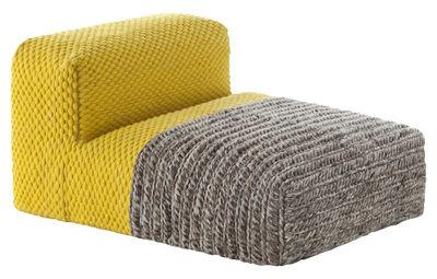 Furniture - Armchairs - Mangas Space Plait Easy chair - / L 120 cm by Gan - Yelllow - Mousse caoutchouc, Virgin wool