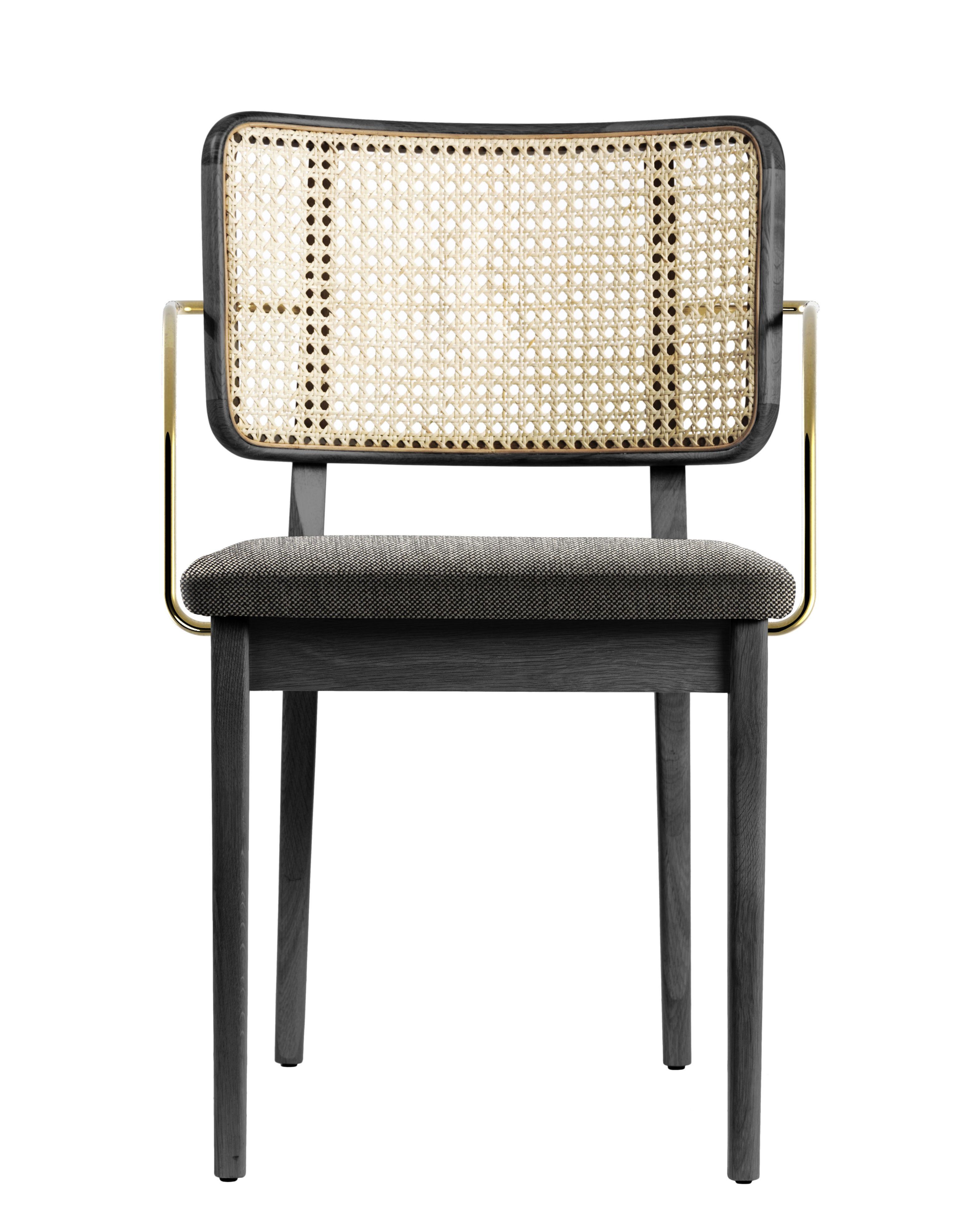 Mobilier - Chaises, fauteuils de salle à manger - Fauteuil bridge Cannage / Tissu - RED Edition - Beige Caviar / Naturel & laiton - Chêne massif teinté, Coton, Laiton, Mousse, Rotin